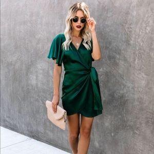 Green satin wrap dress